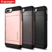 Wholesale Anti Shock Iphone 4s - 2016 new case Slide Card Slot Wallet ID Case Dual Layered Anti-Shock Protector for iPhone 7 6S 6 plus 5S 4S Samsung S7 S7edge S6 S6Edge