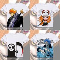 Wholesale White Ichigo - Anime Bleach Cosplay Printed Kurosaki ichigo Short Sleeve T-shirts Captain Tops Tees Ishida Uryuu Summer Tshirt