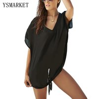 Verão New White Black Breezy Tie The Knot Beach Cover Up Sexy Deep V Neck Batwing Sleeve Loose Shirt Dress Beach Tunic Q42155