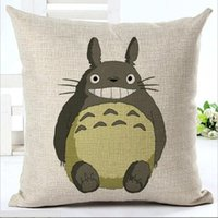 Wholesale Totoro Cushions - Anime chinchilla Totoro pillow Cases Cushion Cover Pillowcase Linen Cotton Home Soft Square Throw Pillow Case Christmas gift