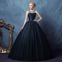 Wholesale Cheap Banquet Dresses - Robe De Soiree Cheap Navy Blue O Neck Sleeveless Customized Evening Dress 2017 New Banquet Floor-length Long Party Prom Gowns