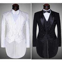 esmoquin negro pajarita blanca al por mayor-(Chaqueta + Pantalones + Chaleco + Pajarita) 2017 Moda Hombre Trajes Sastre Esmoquin Prom Novio Boda Blanco Negro Slim Fit Cantante Masculino