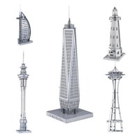 Wholesale Needle Mixed - 3D Metal Puzzle Mix-Lot Space Needle Center Empire State Building World Trade Center Tower of the Americas DIY 3D Metal Model Building Kits