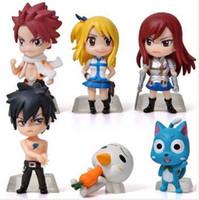 ingrosso fata di coda anime pvc-6 Pz / set Anime Fairy Tail Natsu / Grigio / Lucy / Erza Action Figure Toy PVC Model Dolls Grande regalo
