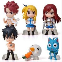Wholesale Anime Figure Fairy Tail - 6Pcs Set Anime Fairy Tail Natsu   Gray   Lucy   Erza Action Figure Toy PVC Model Dolls Great Gift