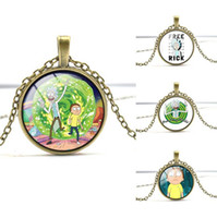 Wholesale Mix Order Pendant - Good A++ Rick and morty series gem necklace gift WFN348 (with chain) mix order 20 pieces a lot