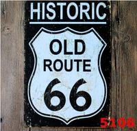 ingrosso quadri di moda d'epoca-Moda 20 * 30 cm US Route Old Historic 66 Retro Vintage Classic Tin placcato Decorazioni murali per la casa Retro Tin Poster Bar Dipinti metallici