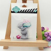 Wholesale Bear Rubber Stamp - Wholesale- Lively Bear with Candy Transparent Clear Stamp DIY Silicone Seals Scrapbooking Card Making Photo Album Decoration Supplies
