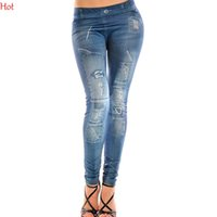1b5065c19b3d4f New Womens Denim Look Ripped FauxJean Leggings Ladies Trousers Shiny Slim  Fitness Pants Leopard Patchwork Leggings Blue Wholesale SV001374