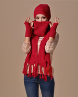 Wholesale Womens Gloves Hats - Womens Knitted Ski Beanie Cap Warm Hat Scarf and Gloves Winter Set
