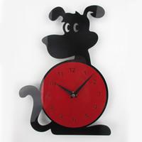 Wholesale Antique Style Wall Lights - Wholesale-3D Wall Clock Dog Shape Fashion Home Decor Acrylic Wall Clock Horloge Murale