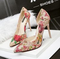 Wholesale Korean Shoes Pumps - 3058-82 Korean version of the fashionable side of the side of the high-heeled shoes nightclub sexy fine with flowers work shoes