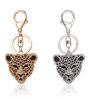 Wholesale Leopard Car Accessories - Leopard Head Key Chain Full Diamond key Ring Wholesale Price Import Materials Keychains Car Bag Charm Ornaments Pendant Accessories