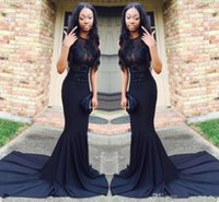 Wholesale Sexy See Through Bateau Mermaid - Sexy African Black Mermaid Prom Dresses 2017 Court Train Satin See Through Long Evening Gowns Graduation Party Dress
