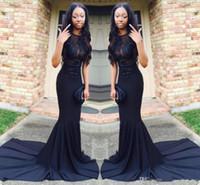 preto longo ver através de vestidos venda por atacado-Sexy africano preto sereia vestidos de baile cetim trem treinar ver através de vestidos de noite longo vestido de festa de formatura