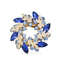 Wholesale Bridal Clothes - 7 Color Dazzling Colorful Rhinestone Crystal Redbud Flower Bouquet Brooch Jewelry Drop Exquisite Multicolor Bridal Clothes Hat Scarf Pin