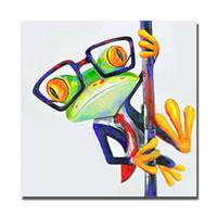diseños de pintura para dormitorios al por mayor-Envío gratis divertido diseño decorativo de dibujos animados imágenes de ranas pintura al óleo lienzo imágenes de la pared para el dormitorio