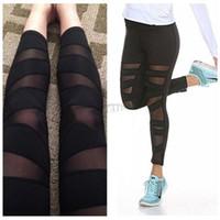 Wholesale Panel Leggings - Fashion Womens Mesh Panels Stretchy Workout Sports Gym Yoga Leggings Ninth Pants