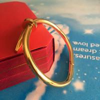 Wholesale Stylish Jewelry Sets - Luxury 18k Gold Plate Jewelry Titanium Stainless Steel Luxury Brand Stylish Screws Nail Bangle Women gold love Bracelets with Original box