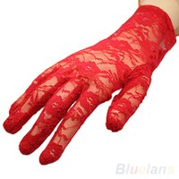 Vente en gros - Femmes Sexy Black Red White Beige Driving Evening Lace Gloves