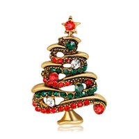 Wholesale Green Crystal Brooches - New Arrival Christmas Jewelry Multicolor Crystal Christmas Tree Brooches Antique Gold Alloy Brooch Corsage Pins XMAS Gifts In Stock