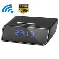 Wholesale Video Surveillance Clock - 32GB P2P Wifi Pinhole Hidden Alarm Clock Camera 1080P Mini Clock Spy Camera Security & Surveillance Cameras Mini Camcorder Video Recorder