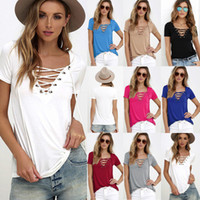 Wholesale Tee Shirt Jumper Lace - Sexy Ladies V-Neck Lace Up Jumper Tops Womens V-Neckline Blouse T-Shirt Short Sleeve Pullover Casual Shirt Basic Tee