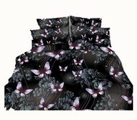 ingrosso farfalla re-Galaxy Black Butterfly Set biancheria da letto stampata in 3D Twin Full Queen King Size Coperta a coda di rondine Federa Federa con conchiglia in madreperla