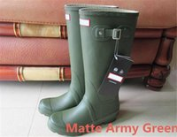 Womens Rainshoes Wellies Wellingtons Wellington Bota de lluvia Welly Botas de rodilla impermeables Rainboots Botas de lluvia Matte Army Green Shoes Chanclos