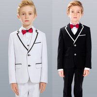 Wholesale Tuxedo Waistcoat Pink - Handsome Three Pieces Of Boys Formal Wear With Jacket+Waistcoat+Pants Polyester Gentleman Preppy Style Kids Tuxedos Suits