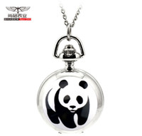 Wholesale Cute Mini Watch - Wholesale-Fashion Lovely Cute Panda Mini Mirror Pocket Watch Kids Girls