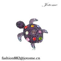 Wholesale Tortoise Shell Plates - 100PCS Lot China Wholesale Womens Nickel Tone Purple Rhinestones Colorful Sea Turtle Tortoise Shell Brooch Pin