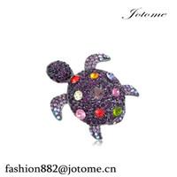 ingrosso cina conchiglie marine-100PCS / lotto Cina all'ingrosso Womens nichel tono viola strass Colorful Sea Turtle Tortoise Shell Pin Spilla