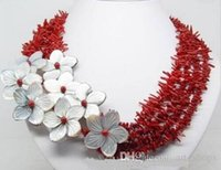 Wholesale Charming Red Coral Necklace - Charming !!! natural red coral shell flower necklace