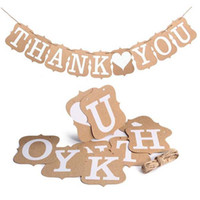 Wholesale Thank Bunting - 5Set 3M Paper thank you Banner Wedding Party Bunting Baby Shower Birthday party thank you Kraft Paper