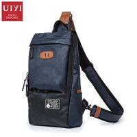 Wholesale Leather Sling Pillow - Wholesale- UIYI Soft Leather Men Messenger Bags Patchwork Men Chest Pack Cross Body Sling Single Shoulder Bag Daypacks