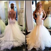 Wholesale See Through Wedding Skirts - 2017 Long Mermaid Amazing See Through Back Wedding Dress Romantic Lace Appliques Bridal Gown Plus Size Custom Made