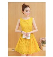 Wholesale Korean Bubble Dress - 2017 summer new arrival fashionable Korean style of the A-line sleeveless lace round collar bubble dress