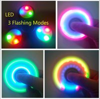 Wholesale Different Models - 50pcs Turn OFF Switch LED Light Fidget Spinners 3 Models Different Flashing Colors Tri-Spinner Handspinner Stress for ADHD Give Up Smoking