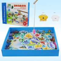 Wholesale Baby Wooden magnetic fishing game puzzle toys kids infant funny Puzzles Toy children birthday Gift toy set with colorful box