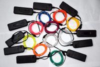 bateria de luz de corda de néon venda por atacado-2 m / lote Flexível Luz Neon Brilho EL Fio de Corda tubo de Tira de Cabo de LED Neon Luzes Sapatos Roupas festa de Carro decorativo com controlador da bateria