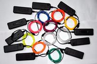 batterie légère de corde de néon achat en gros de-2m / lot Flexible Neon Light Glow EL Câble Corde tube Bande De Câble LED Neon Lights Chaussures Vêtements De Voiture partie décorative avec contrôleur de batterie