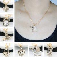 Wholesale Crown Pendant Necklace Wholesale - Jmyy Jewelry Hot Fashion Necklace Cute Key Elephant Crown Necklaces & Pendants Leather Chain Alloy Chian For Women Short Necklace