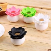 Vente en gros- Hot New Lotus Vase Décor Flower Cotton Bud Holder Toothpick Case Coton Swab Box