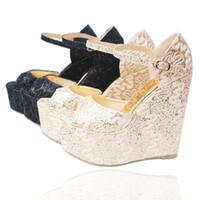 gold ultra high heels sandalen großhandel-Sommer Damenschuhe Ultra High Heels (15cm) mit Plattform Wedge Lace Hochzeit Schuhe Peep Toe Female Sandalen Bridal Pumps 30--43