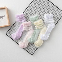 Wholesale Child Lace Ruffle Socks - Summer Baby Girls Socks 2017 New Lace Floral Ruffle princess mesh socks children breathable short ankle sock Kids Socksing C1528