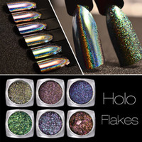 Wholesale Nail Art Paillette - New Holo Nail Flakes 0.2g Chameleon Powder Laser Nail Art Sequins Dust Holographic Glitter Paillette Decorations Manicure 2017