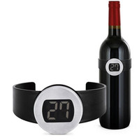 Wholesale Digital Red Wine Bottle Thermometer - Wholesale Digital Electronical LED Display 50pcs RED Wine Bottle Thermometer Watch DHL Fedex Free shipping ZA35356