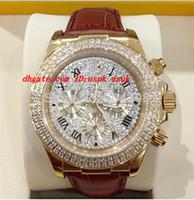 pavimentar relógios venda por atacado-Nova marca de Luxo Relógio de Pulso 18 k Rose Gold Pave Diamante Dial 116509 Automático Mens Watch Pulseira De Couro dos homens Esporte Relógios de Pulso