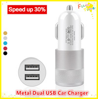 Wholesale Double Usb Car Phone Chargers - Metal Dual USB 5V 1A Car Charger universal portable Double USB output ports charging adapters for GPS Samsung Galaxy s5 Cell phones